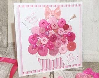 Handmade Button Cupcake Card, Button Birthday Card, Mother's Day Card, Children's Birthday Card, Cupcake Card, Button Card, Valentine's Card
