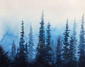 Forest painting, pine tree forest, pine forest, pine trees, Misty trees, Misty forest, watercolor trees, tree painting, forest watercolor