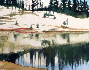 Mount Rainier, Rainier national park, Pacific Northwest, Tipsoo lake, Lake reflection, northwest landscape, landscape painting, northwest
