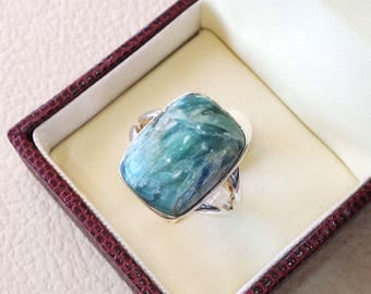 Green kyanite unique ring sterling silver 925 multi color cushion cabochon any size  jewelry fast shipping big  gem IK004