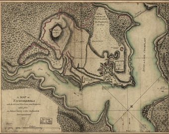 Poster, Many Sizes Available; Map Of Fort Ticonderoga Lines And Batteries 1777