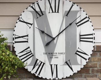 "Large Wall Clock, Farmhouse Clock, Oversized Wall Clock, Wedding gift, Custom Wall Clock, Personalized Wall Clocks, 35"" Wall Clocks"
