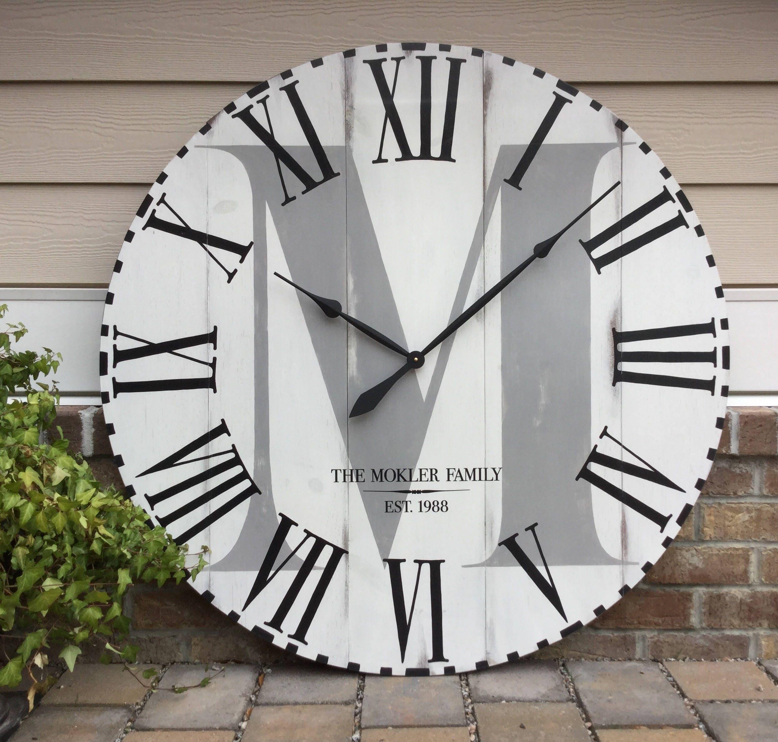 large wall clock farmhouse clock oversized wall clock. Black Bedroom Furniture Sets. Home Design Ideas