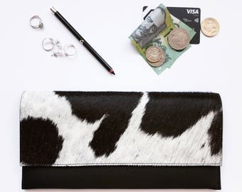Minimalist Clutch - Cowhide - Black and White