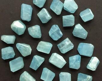 Aquamarine Nugget Beads - Natural Aquamarine Nuggets - Blue Gemstone Beads - 10mm Blue Nuggets