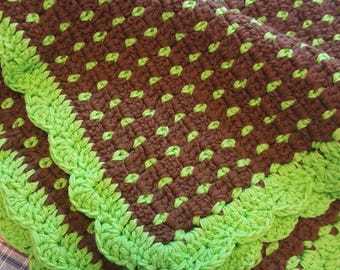 Ready to ship Brown and Lime Green crochet baby blanket, crochet blanket, Large baby blanket, Gender Neutral blanket, lime green blanket