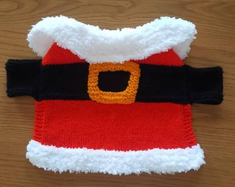 Santa handknitted small pet coat