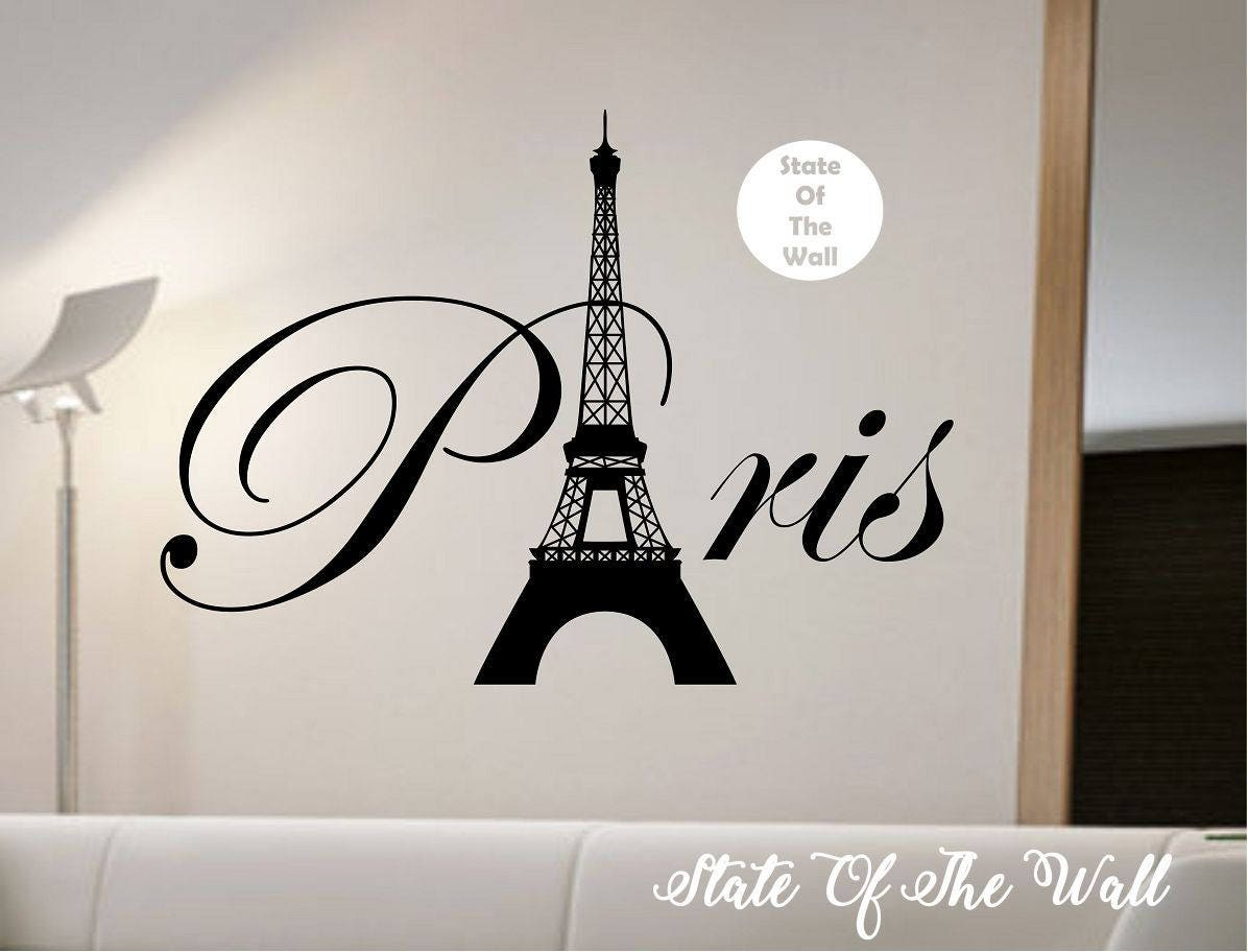 Paris eiffel tower wall decal sticker art decor bedroom design - Eiffel tower decor for bedroom ...