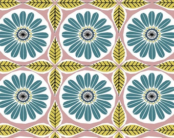 Organic Cotton Barkcloth - Ceramic - Organic - Fabric by the Yard - Sustainable  - Boho - Barkcloth - Geometric - pink