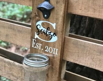 Wooden Bottle Opener - Rustic Beer Bottle Opener - Wall Mounted Beer Bottle Opener - Wedding Gift - Iron Anniversary Gift - Beer Opener
