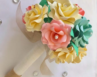 Coral and Mint Wedding Bouquet, Mint Green Wedding Bouquet, Mint Green Rose Bouquet, Paper Flower Bouquet, Paper Rose Bouquet