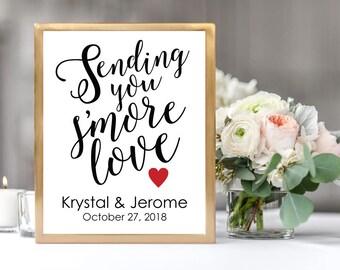 Sending You S'more Love Wedding Sign, Wedding Favor Smore Station Sign, Instant Download, DIY Printable, Wedding Reception Printable Sign