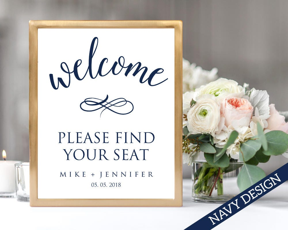 welcome please find your seat sign template instant download