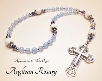 Anglican Rosary. Christian Rosary. Aquamarine Rosary. Anglican Prayer Beads. Boys Rosary. Episcopal Rosary. Christian Gifts #AR2