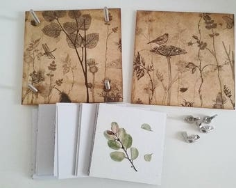 Bird in woodland flower press, pressed flower art, rustic gift, nature lover, pressed flowers craft,