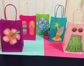 DIY Luau Theme Favor Bags- Electronic Version ONLY