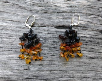 Baltic Amber Earrings -Natural Amber Nuggets - Honey Amber - Amber Dangle Earrings - Lever Back Earrings