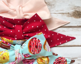 Gorgeous Wrap Trio (3 Gorgeous Wraps)- Pink, Crimson Sugar & Donut Love Gorgeous Wraps; headwraps; fabric head wraps; bows