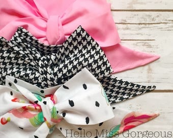 Gorgeous Wrap Trio (3 Gorgeous Wraps)- Petal Pink, Noir Houndstooth & Rosa Gorgeous Wraps; headwraps; fabric head wraps; bows