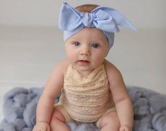 PERIWINKLE Gorgeous Wrap- headwrap; fabric head wrap; head wrap; boho; newborn headband; baby headband; toddler headband; bow