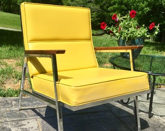 Mid Century Modern Chrome and Yellow Vinyl Lounge Chair