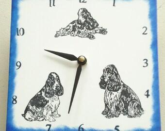 "Ceramic tile English Cocker Spaniel dog clock, 6"" square, blue border"