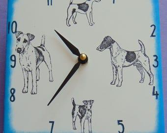 "Ceramic tile Fox Terrier, smooth coat, dog clock, 6"" square, blue border"