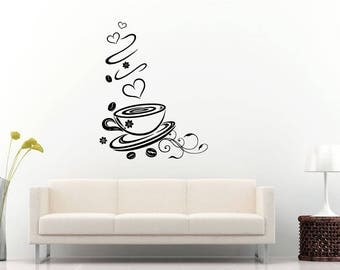 Coffee Shop Store Cup Mug Beans Flower Love Heart Wall Sticker Decal Vinyl Mural Decor Art L2292