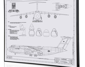 Lockheed blueprint etsy lockheed c 5 galaxy laser engraved wall art poster engraved on metal acrylic malvernweather Choice Image