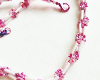 Pink beaded necklace seed handmade jewelry seed beads beadwork gift for her for Mom unique beaded necklace green light pink light pink beads