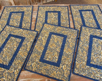 Six Quilted Placemats, Blue Beige Table Mats, Floral Fabric Place Mats, Reversible Table Quilt, Wedding Gift for Home, Anniversary Gift