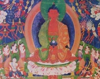 "Vintage Poster of Thangka AMITABAH Tibet 18th Century Buddhism (18x29"")"