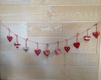 10 Mini hearts fabric-Guirlane