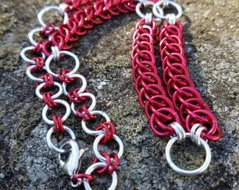 Red and Silver Half-Persian Weave Chainmaille Necklace