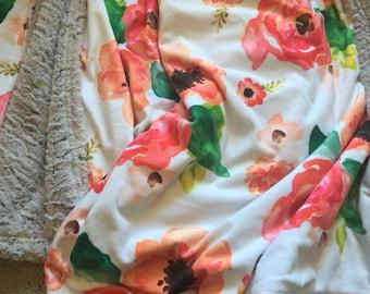 Watercolor floral blanket / Faux fur minky blanket / Pink and coral flower blanket / Baby girl floral nursery / Flower nursery bedding