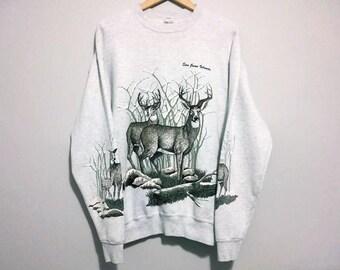 Vintage Deer Sweater Buck Sweatshirt 1991 - Color Grey - Size L/XL