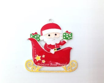 Santa in Sleigh Enamel Pendant for Chunky Necklaces,  46mm Christmas Pendant,  Santa Sleigh Necklace Pendant