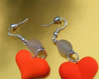 Glowing Heart and Glass Combo Earrings