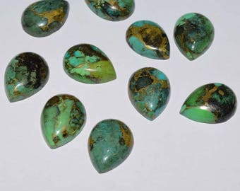 ME-0009 Gorgeous Copper Turquoise Pear Cabochon Size 12X16mm Pack of 10 Pieces Weight 63 carat 100% genuine and natural stone