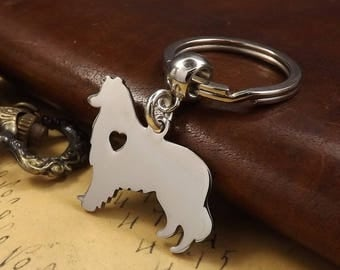 Stainless Steel Rough Collie Heart Silhouette Keychain Dog Keyring
