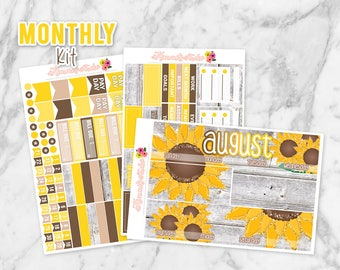 August Sunflowers Monthly Overview Planner Sticker kit for Erin Condren Life Planners