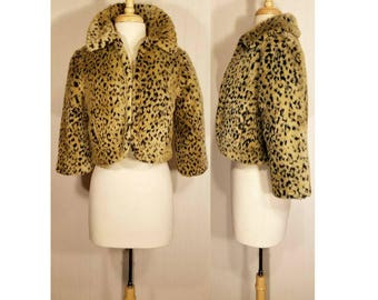 Women's Leopard Jacket, Leopard Bolero, Leopard Print Shrug, Leopard Capelet, Faux Fur Bolero, Faux Fur Jacket, Animal Print Cropped Jacket