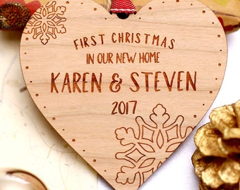 First 1st Christmas In New Home Bauble, First 1st Christmas In New Home Ornament Decoration, Personalised Wooden Christmas Xmas Tree Gift