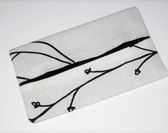 "Tissue holder case ""rustic black and white"""