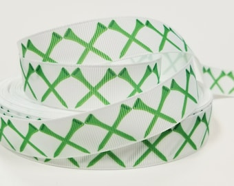 "7/8"" inch Green Golf Tee Tees on white - Matches Golf Ribbon- Printed Grosgrain Ribbon for Hair Bow - Original Design"