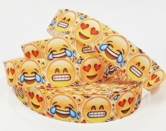"""7/8 """" inch Happy Face, Hearts and Laughing Face - Printed Grosgrain Ribbon for 7/8 inch  Hair Bow"""