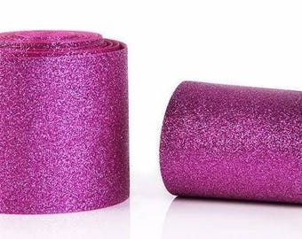 "3 inch Hot Pink Glitter Super Sparkle Grosgrain Ribbon for 3 inch Cheer Hair Bow -  Back is Hot Pink Grosgrain 3""  3 inch Cheer Hair Bow"