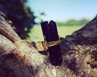 Black Obsidian Crystal Ring, Black Obsidian Crystal Point Ring, Black ObsidianRing, Obsidian, Boho Ring, Hippy Crystal Ring, Crystal