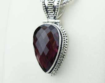 Facated Vintage Setting Garnet 925 S0LID Sterling Silver Pendant + 4MM Snake Chain & Worldwide Shipping p4224