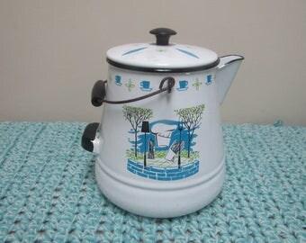 Vintage mid century enamel kettle, tea pot with wood handle